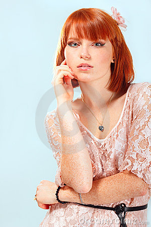 Summer teen girl beautiful freckles redheaded