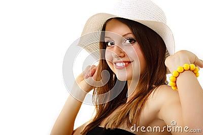 Summer teen girl cheerful in panama enjoying