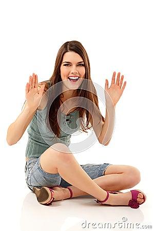 Summer teen girl cheerful sitting