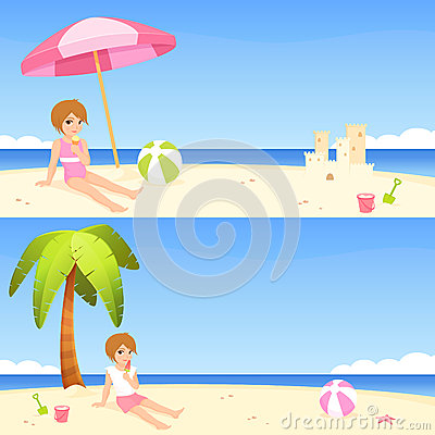 Summer theme banners with cute girl on beach