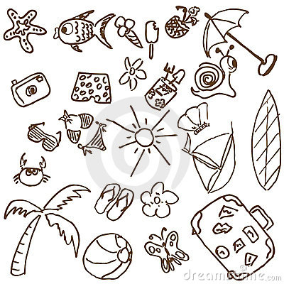Free Summer Theme Doodles Stock Photos - 10240123