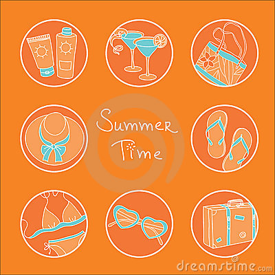 Summer theme icon set