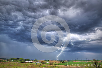 Summer thunderstorm over the meadow