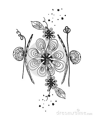 Free Summer Time Abstract Black Flowers. Tattoo. Nature Theme. Abstract Daisy Silhouette Flower.Abstract Tattoo Design Vector Floral De Stock Images - 117142424