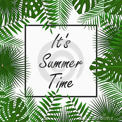 Free Summer Time Card Design With - Tropical Palm Leaves, Jungle Leaf , Exotic Plants And Border Frame. Graphic For Poster, Banner. Royalty Free Stock Image - 106557536