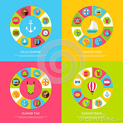 Summer Time Concepts Vector Illustration