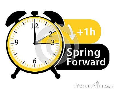 Daylight saving time. Spring forward alarm clock icon. Vector Illustration