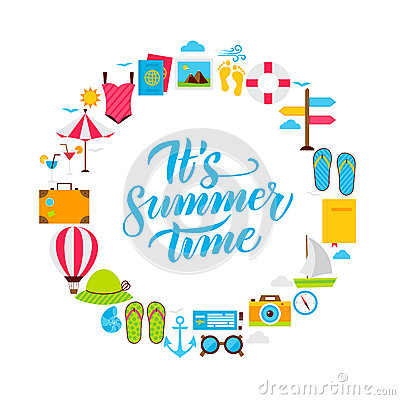 Summer Time Flat Circle Vector Illustration