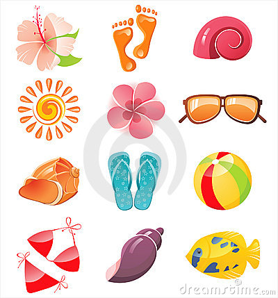 Free Summer Time Icons Royalty Free Stock Image - 18021026