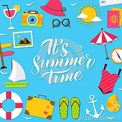 Summer Time Lettering Postcard Vector Illustration
