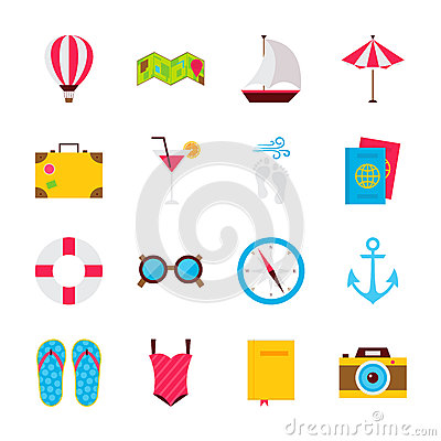Summer Time Objects Vector Illustration