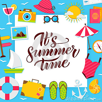 Summer Time Paper Concept Vector Illustration