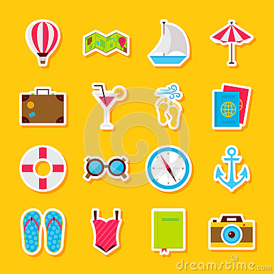 Summer Time Stickers Vector Illustration