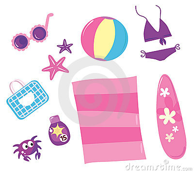 Summer, travel and beach icon set ( pink )