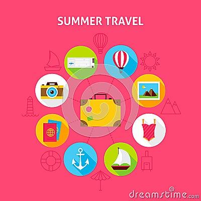 Summer Travel Concept Vector Illustration