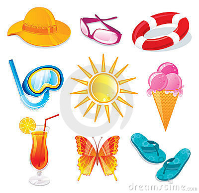 Summer and travel icon set