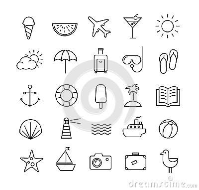 Summer Travel icons in thin lines Vector Illustration