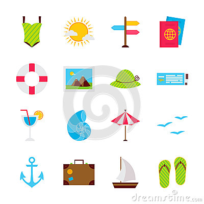 Summer Travel Objects Vector Illustration