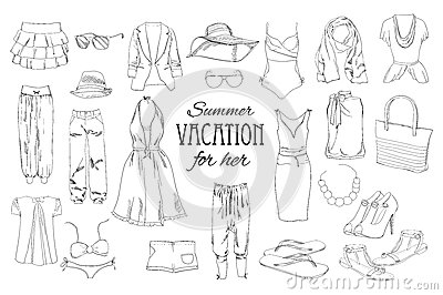 Summer travel packing for vacation. Woman clothing set. Vector hand drawn isolated objects. Black and white fashion Vector Illustration
