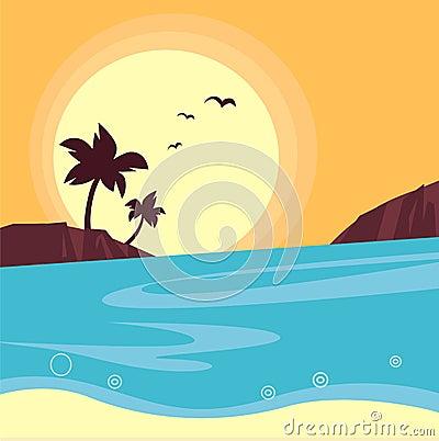 Summer & travel: silhouette of beach sunset