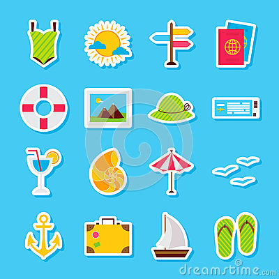 Summer Travel Stickers Vector Illustration