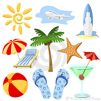 Summer and travel symbols
