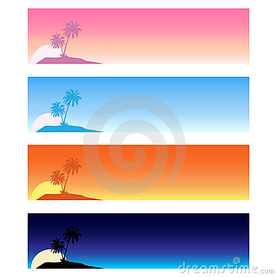 Summer tropical banners