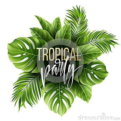Free Summer Tropical Leaf Background With Exotic Palm Leaves. Party Flyer Template. Handwriting Lettering. Vector Stock Photography - 91162352