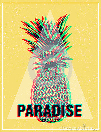 Free Summer Tropical T-shirt Graphics Print, Pineapple. Royalty Free Stock Photo - 60015955