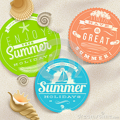 Free Summer Vacation And Travel Labels And Sea Shells Stock Image - 30647711