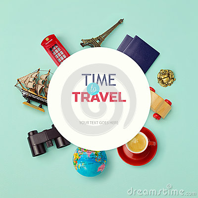 Free Summer Vacation Background Mock Up Design. Objects Related To Travel And Tourism Around Blank Paper. View From Above Royalty Free Stock Photos - 51427698