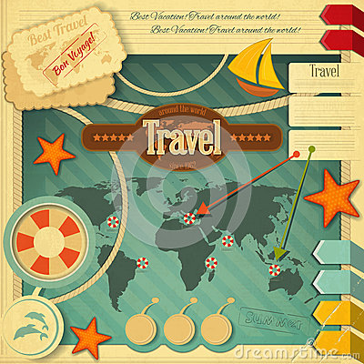 Summer travel card in retro style vintage vacation postcard with - Summer Vacation Card In Vintage Style Stock Photos Image
