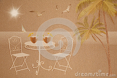 Summer vacation concept on wet sand texture