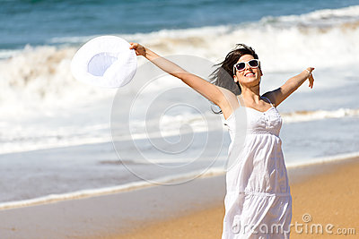 Summer vacation happiness on beach