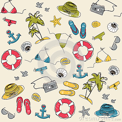 Summer vacation holiday seamless pattern