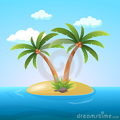 Free Summer Vacation Holiday Tropical Ocean Island With Palm Tree Flat Vector Illustration Royalty Free Stock Photo - 83722275