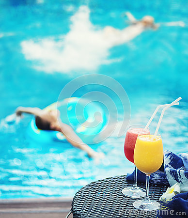 Free Summer Vacation In Swimming Pool Stock Images - 74495424