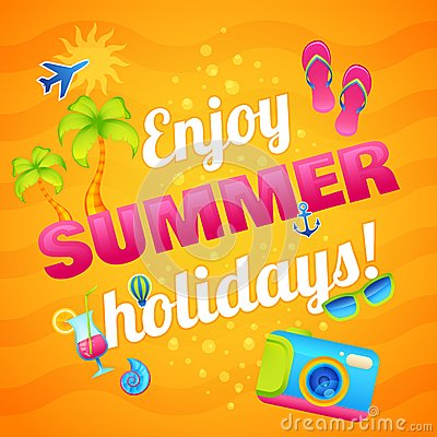 Summer Vacation Poster Stock Vector - Image: 50595521