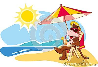 Summer Vacation By The Sea Cartoon Illustration Stock