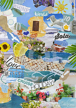 Free Summer Vacation Season Atmosphere Mood Board Collage Royalty Free Stock Photo - 63236995