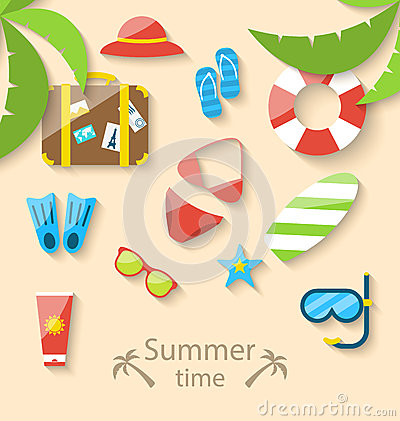 Free Summer Vacation Time With Flat Set Colorful Simple Icons Royalty Free Stock Image - 51657176