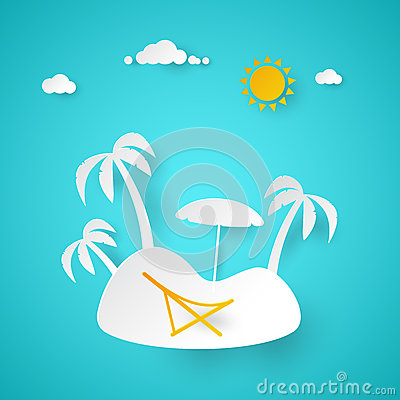 Free Summer Vacation. Tropical Island With Palm Tree. Cut Paper Illustration Royalty Free Stock Photos - 88405178