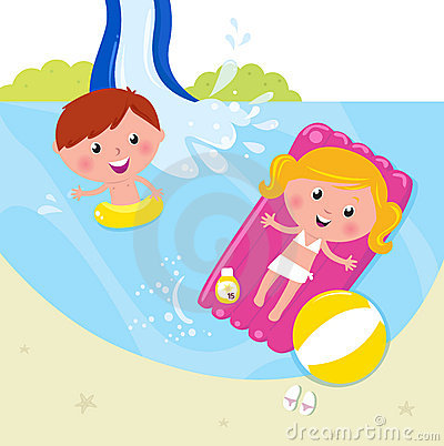 Summer vacation: two children swimming in the pool