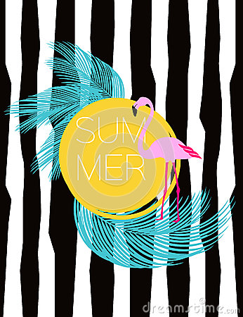 Summer vector card. Flamingo and palm leaves. Illustration background. Vector Illustration