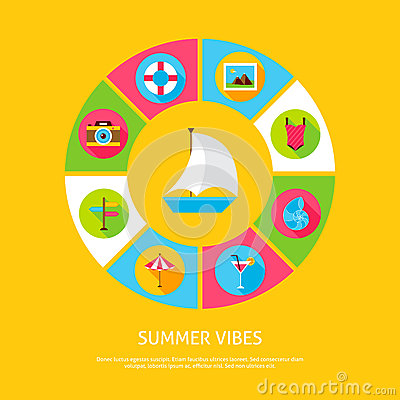 Summer Vibes Concept Vector Illustration