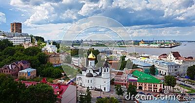 Summer view of old district of Nizhny Novgorod
