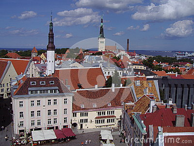 Summer view of the Old Town of Tallinn, Estonia Editorial Photo