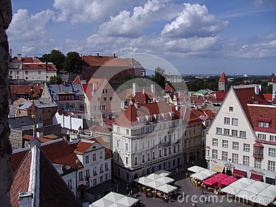 Summer view of the Old Town of Tallinn, Estonia Editorial Photography