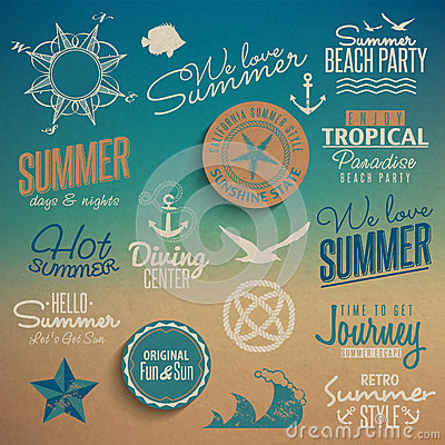 Free Summer Vintage Elements Royalty Free Stock Photo - 32204525
