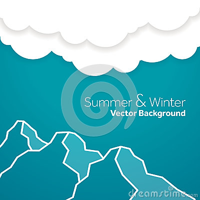 Summer and winter mountain  template